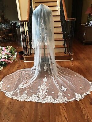 Ivory Wedding Veil With Lace Sequin Applique 120 Inches