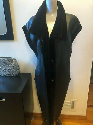 New Mitchie's Matchings Collection Leather  Shearling Reversible Long Vest Sz L