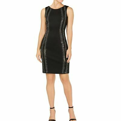 CALVIN KLEIN NEW Women's Black Embellished Sleeveless Scuba Sheath Dress 4 TEDO