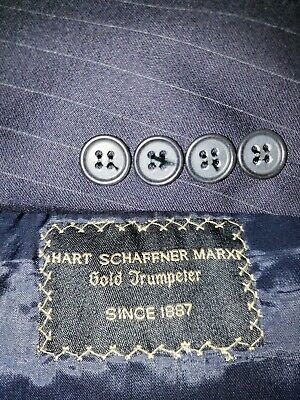 Hart Schaffner Marx GOLD TRUMPETER Mens 48R Blue Striped WOOL Blazer/Suit Jacket