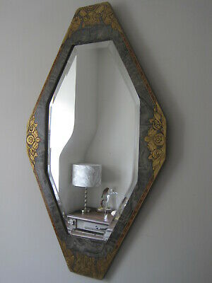Fabulous French Art Deco Odeon Style Lozenge Shaped Gesso Wood Wall Mirror A