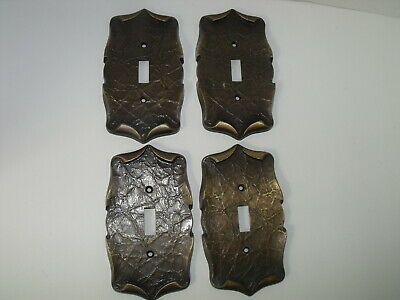 4 Vintage Amerock Carriage House Single Switch Plate Covers  Antique Brass 70s