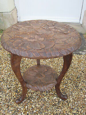 Antique Carved Arts and Crafts Japanese Table from Liberty's of London A