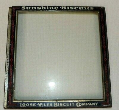 Antique Sunshine Biscuits Tin & Glass Cover Door Store Display Box  Loose Wiles
