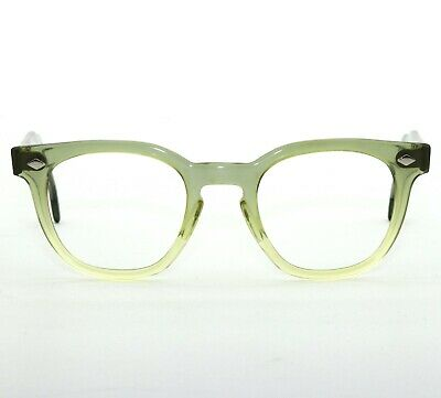 Vintage Mid Century Usa 46-22 Transparent Gray Two Tone Eyeglass Sunglass Frames