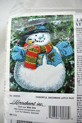 Herrschners Happy Snowman Christmas Holiday Latch Hook Kit New Sealed
