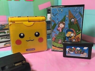 Nintendo Game Boy Advance SP Pikachu Handheld System - 101 With Charger And Game