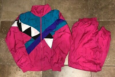 Vintage 80s 90s Longstreet Windbreaker Track Suit Size TM Color Block Hot Pink