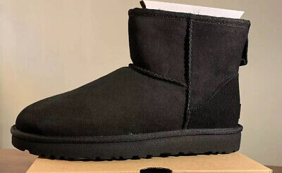 Ugg Classic Mini Ii 1016222 Black Woman's Boots, Size 6 Authentic Brand New.