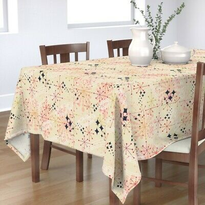 Tablecloth Mid Century Mod Cosmic Voyage Stars Planet Cosmos Cotton Sateen