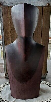 "Dynamite Midcentury Modernist Hand Carved Wood Bust 15.5"" High"