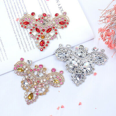 1x Rhinestone Crystal Shoe Applique Flatback Sew On Shoes Patch Badge Decor ZY