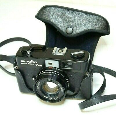 Minolta Hi-Matic 7s II Vintage 35mm Film Camera Case Untested Need Attention #2C