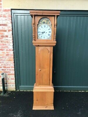 Pine Victorian Style Battery Power Long Case/Grandfather Clock