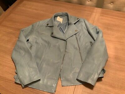 girls faux lether powder blue biker jacket age 13