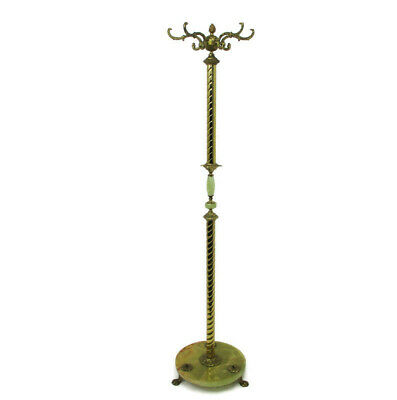 Hollywood Regency Twisted Brass Hall Tree Coat Hat Rack Round Marble Onyx Base