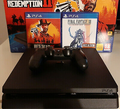 Sony PS4 - PlayStation 4 Slim Noire - 1To - Bundle Red Dead Redemption 2 + FFXII