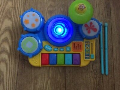 Child Toddler Toy Plastic Drum piano set-Sound and Lights, includes 2 drumsticks