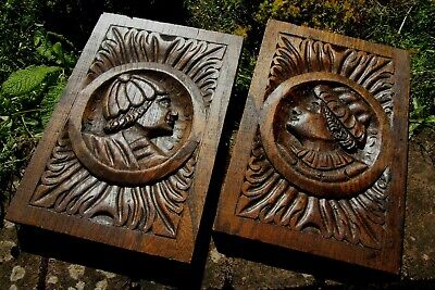 PAIR OF RECLAIMED CARVED WOODEN OAK GOTHIC CHURCH WALL PANELS PLAQUE 18c