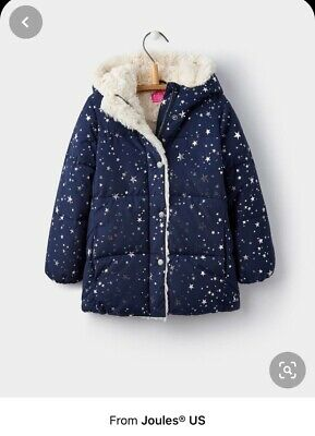 Joules Girls Navy Blue & Star Pattern Thick Winter Coat - Age 2 Years