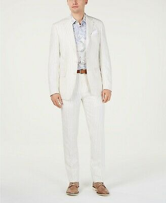$650 Tallia Orange Men's Slim-Fit Linen Taupe Cream Stripe Suit 42S / 33W