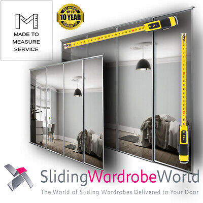 Made to Measure MIRROR Sliding Wardrobe Doors including Tracks