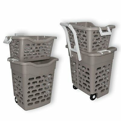 Laundry basket grey with handle and weels, 2 compartments shopping caddy (22306)