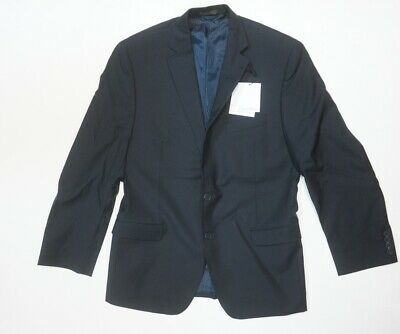 New Calvin Klein Wool Slim Fit Midnight Navy Tonal Striped Suit Jacket 40R**Impe