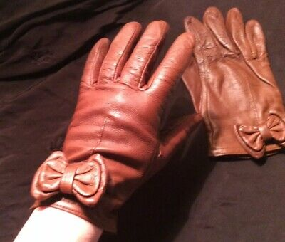 Vintage Brown Bow Leather Gloves Size M Preston & York