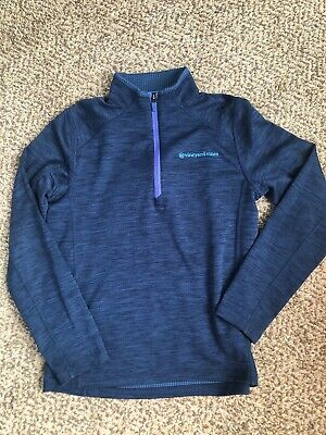 Boys Vineyard Vines Whale Navy Blue Performance 1/4 Zip Pullover Youth Large 16
