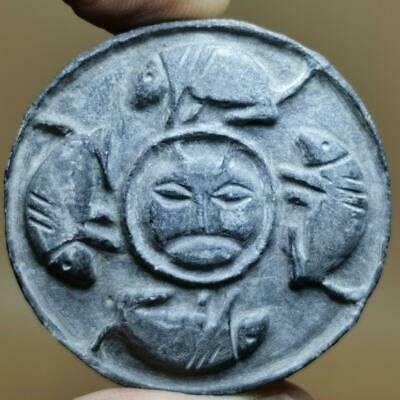 Backtrian Ancient Rare Stone Stamp With Cat & Mice  # 141