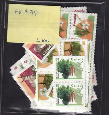 Canada 43¢ to 88¢ mixed lot FV $34 uncancelled no gum stamps [L100]
