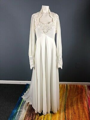 True Vintage 60s Wedding Dress Bridal Gown Long Sleeve Womens Small 1960s Beaded