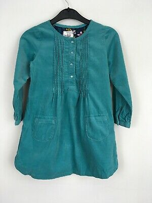 NEXT Dress Girls Size Age 3-4 Years Green Long Sleeve Soft Corduroy Cord Button