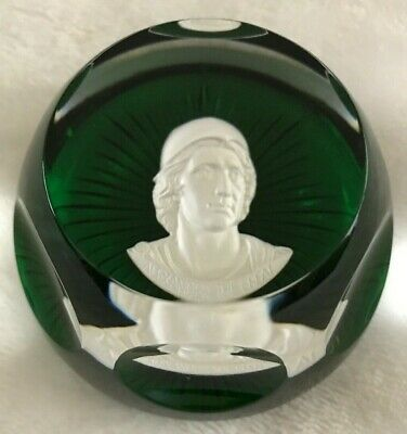 1975 Franklin Mint Baccarat Cameo Paperweight Green Crystal ALEXANDER THE GREAT