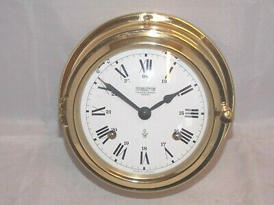 Wempe Yacht Nautical Brass Cased Chronographe Ships Bulkhead Clock With Strike.
