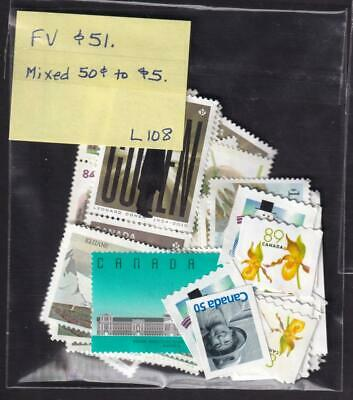 Canada 50¢ to $5 mixed lot FV $51 uncancelled no gum stamps [L108]