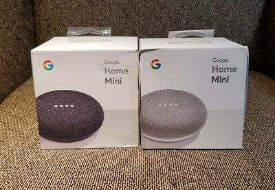 2 NEW Google Home Mini Smart Speakers with Google Assistant - Chalk (GA00210-US)