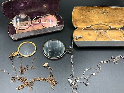 Antique Wire Frame Eye Glasses Ornate Bridges Spectacles Reading Monocle Chain