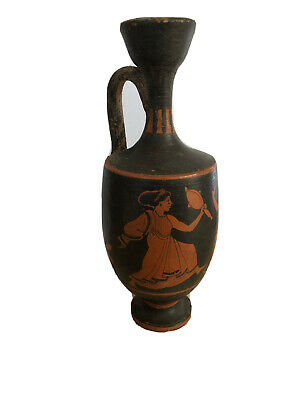 Ancient Black Red Figures Pottery Lekythos Oil Vessel Greece Etruscan Estate Nr