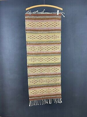 Mexican Wool Rug Woven Earthy Colors Wall Hanging Table runner Zapotec Indian