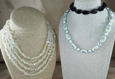 GLASS BEAD NECKLACE Lot of 3 Antique & Vintage MILK GLASS Black AB Cry 4-Strand