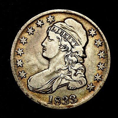 1833 ~**BETTER GRADE**~ Silver Capped Bust Half Dollar Antique US Old Coin! #K34