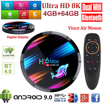 8K H96 MAX X3 4+64G Android 9.0 Dual WLAN BT Smart TV BOX with Air Keyboard USB
