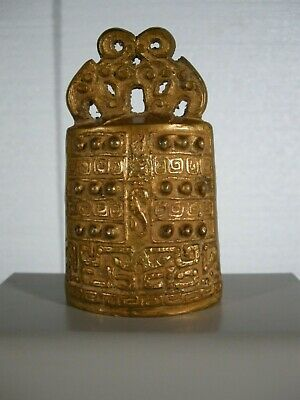 Antique Chinese Bianzong Gilt Bronze Bell , Probably Used To Call For Service.