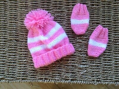 Hand Knitted Newborn Baby Girls Hot  Pink And White Stripes Hat And Mitts Set