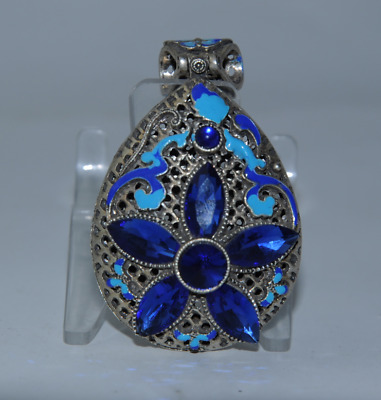 China old cloisonne Miao silver inlay natural sapphire pendant gift /Aa01