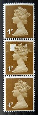 GB 1971 Machin 4p Top Stamp Phosphor Omitted Central Partial Strip of 3 U/M CT10