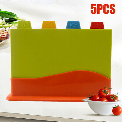 4X Kitchen Plastic Cutting Chopping Board Set Coded Serving Block Catering Food