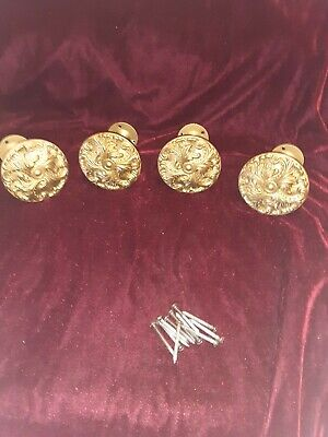 Set of 4 Antique Victorian Gilt Brass Curtain Tieback